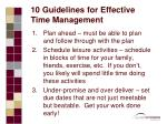 10 guidelines for effective time management