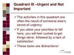 quadrant iii urgent and not important