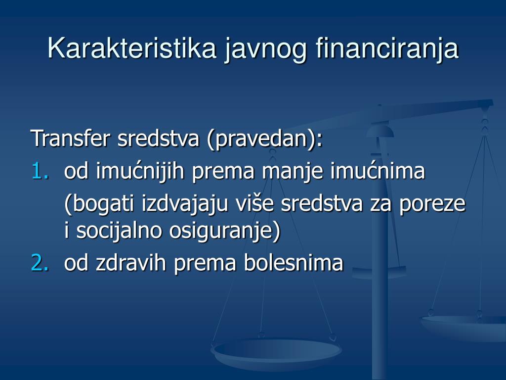 Karakteristika javnog financiranja