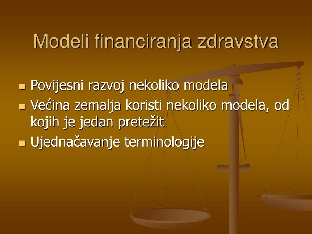 Modeli financiranja zdravstva