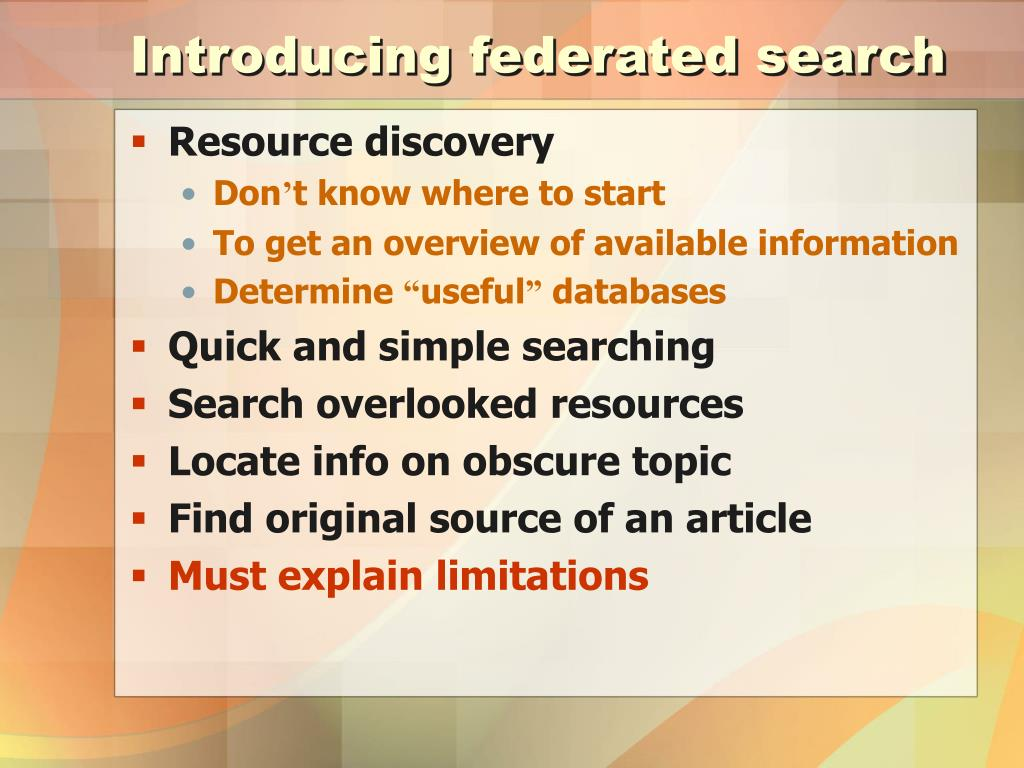 Introducing federated search