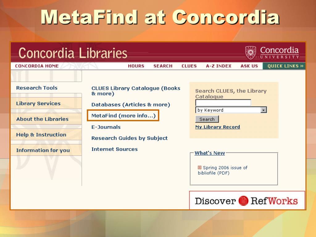 MetaFind at Concordia