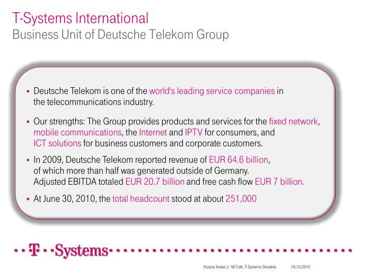 T systems international business u nit of deutsche telekom group