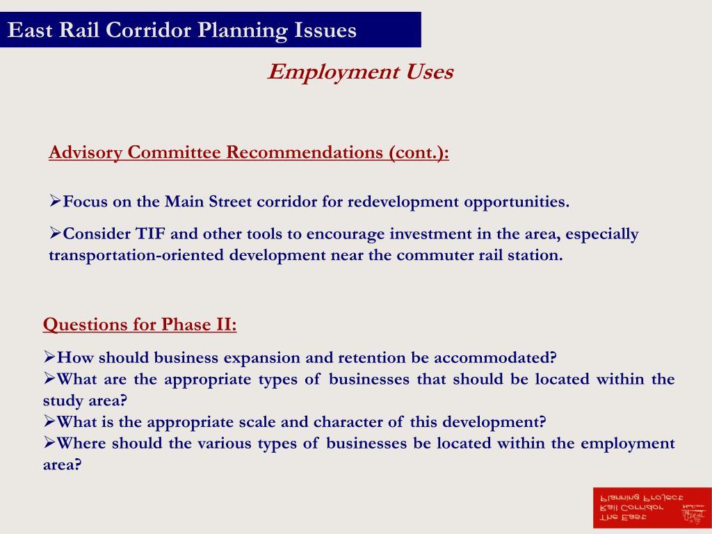 East Rail Corridor Planning Issues