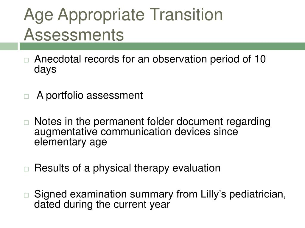 Age Appropriate Transition Assessments