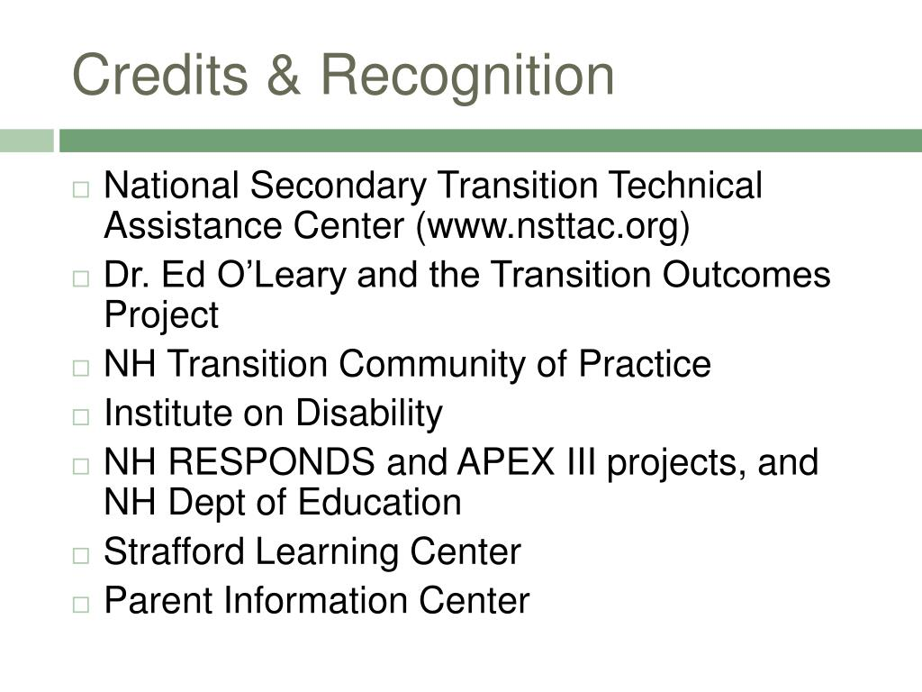 Credits & Recognition