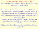 romantism realism 1800 s