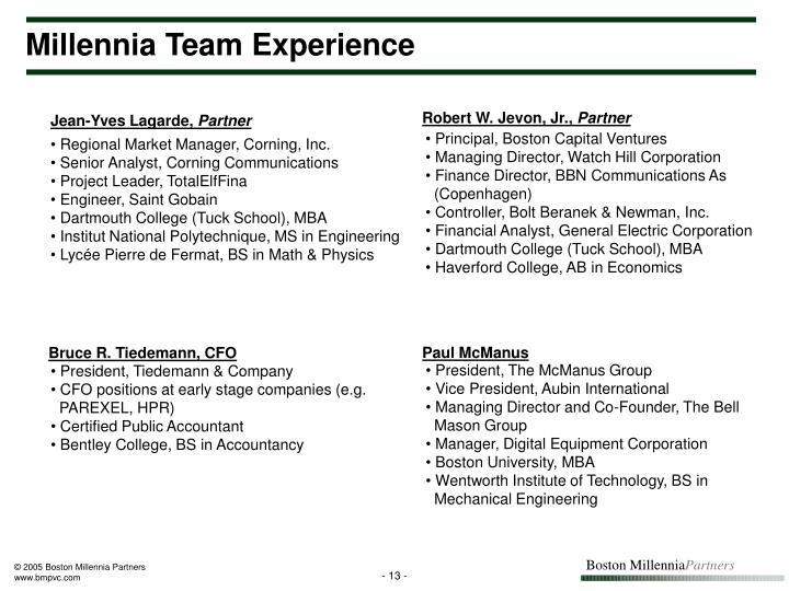 Millennia Team Experience