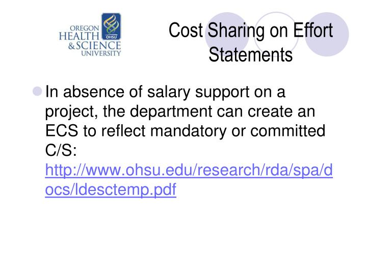 Cost Sharing on Effort Statements