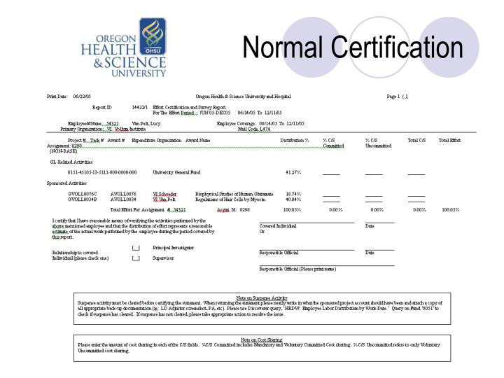 Normal Certification