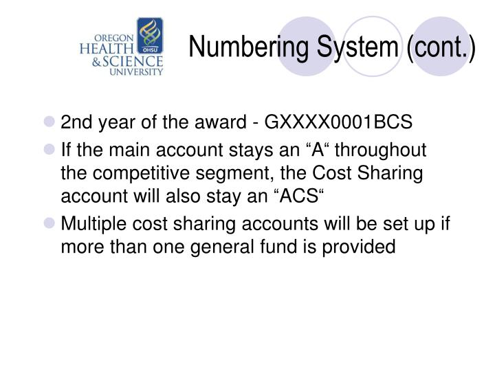 Numbering System (cont.)