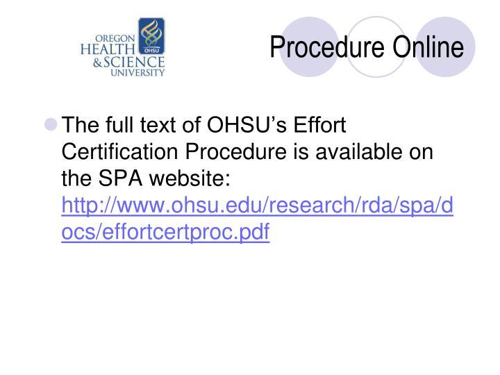 Procedure Online
