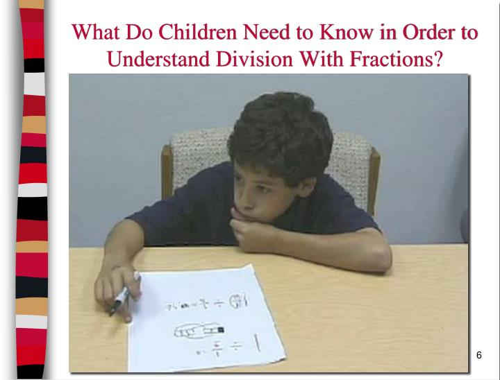 What Do Children Need to Know in Order to Understand Division With Fractions?