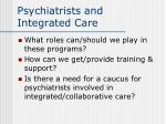 psychiatrists and integrated care