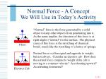 normal force a concept we will use in today s activity