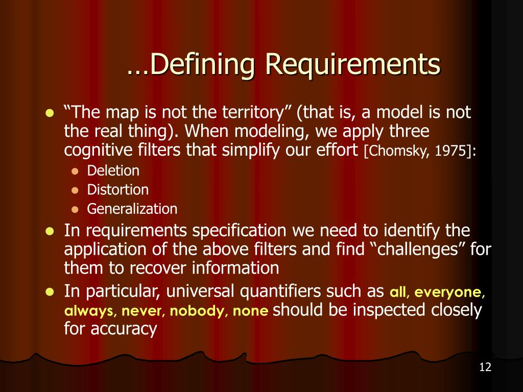…Defining Requirements