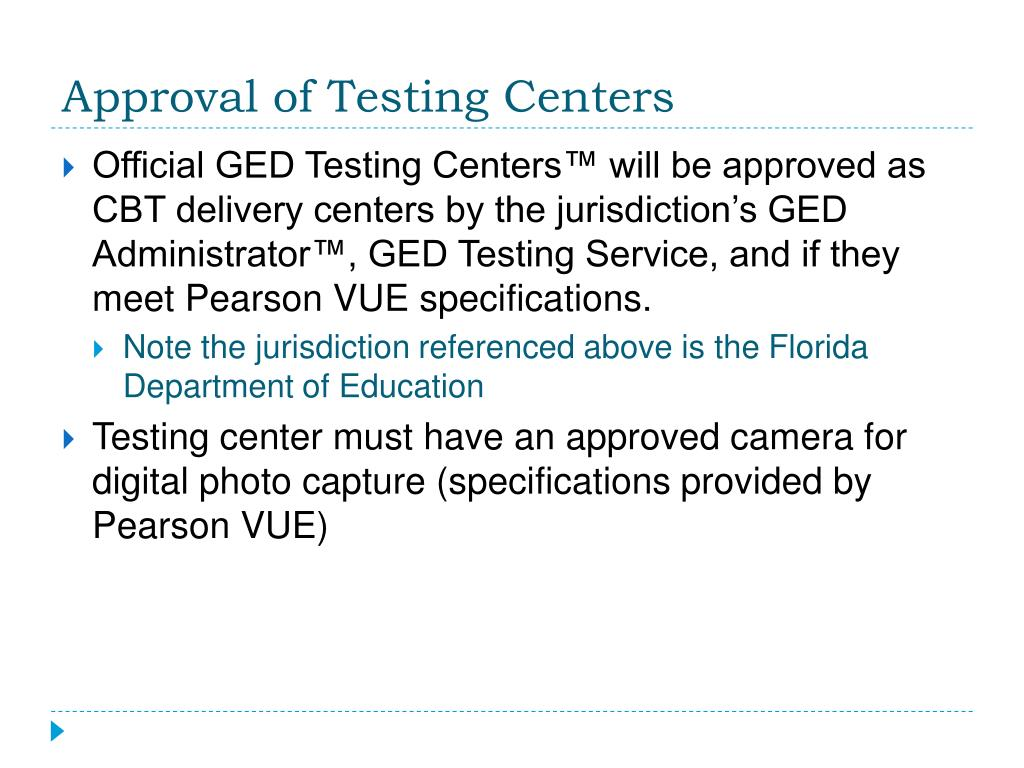 Approval of Testing Centers
