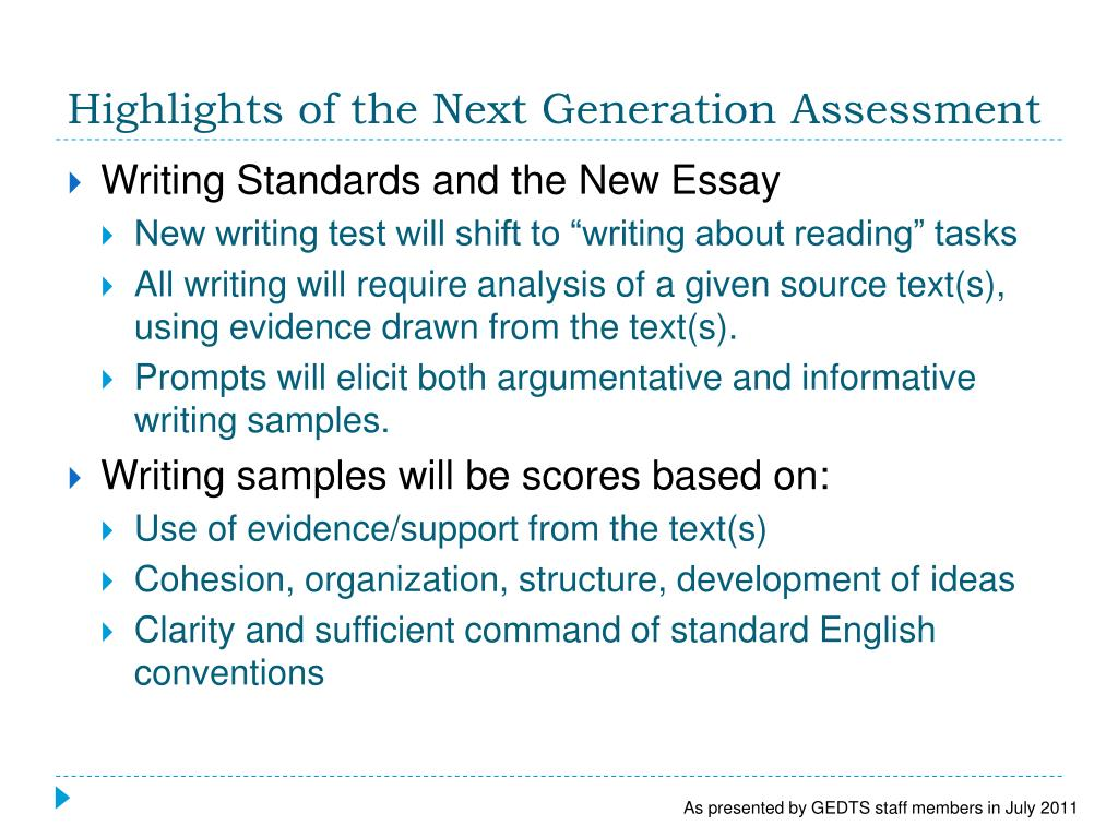 Highlights of the Next Generation Assessment