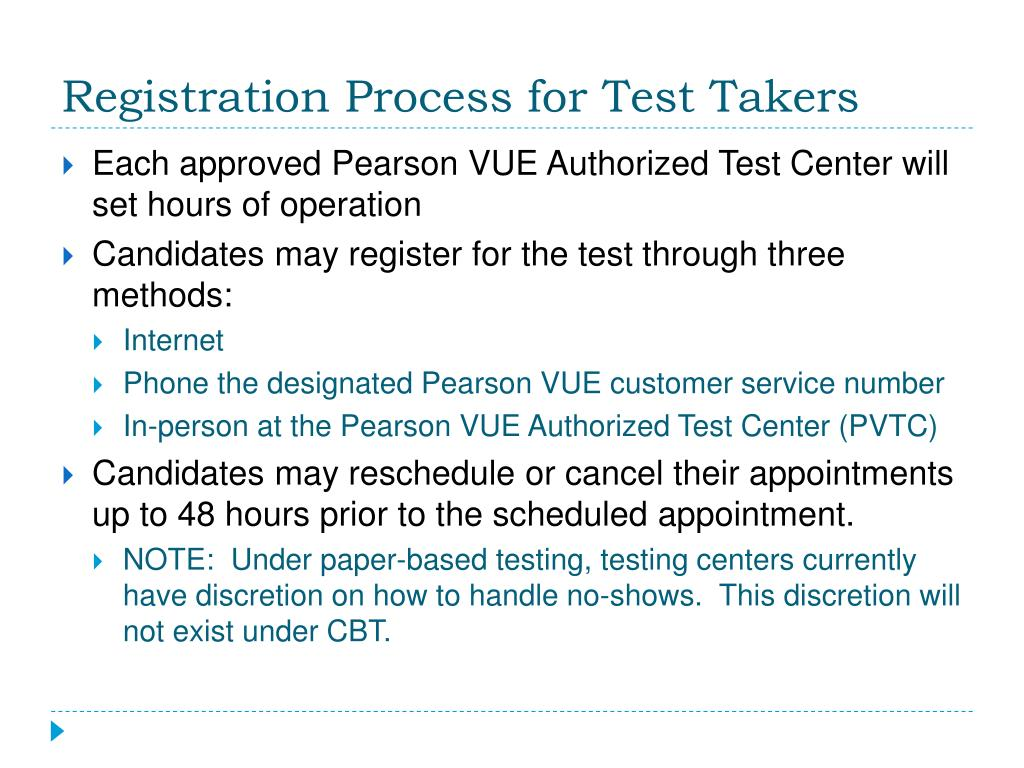 Registration Process for Test Takers