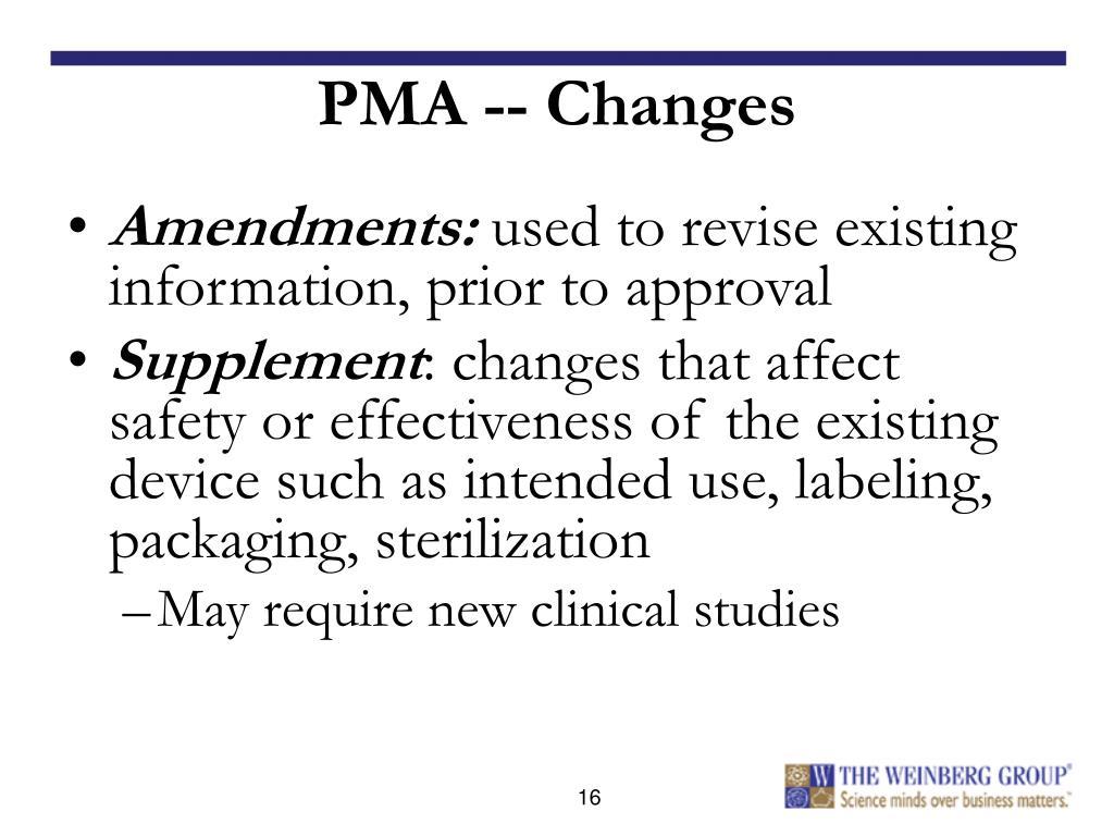 PMA -- Changes