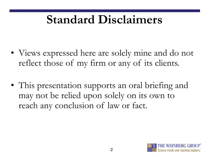 Standard disclaimers