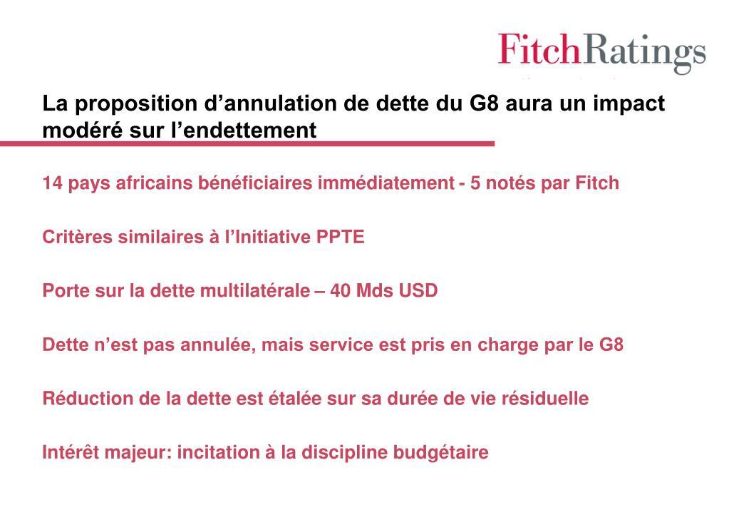 La proposition d'annulation de dette du G8 aura un impact modéré sur l'endettement