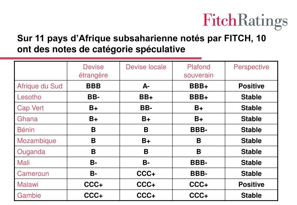 Sur 11 pays d'Afrique subsaharienne notés par FITCH, 10 ont des notes de catégorie spéculative