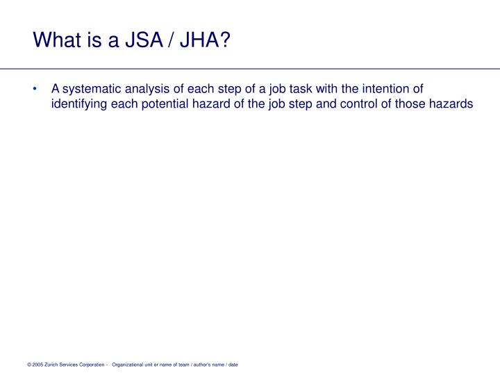 What is a JSA / JHA?