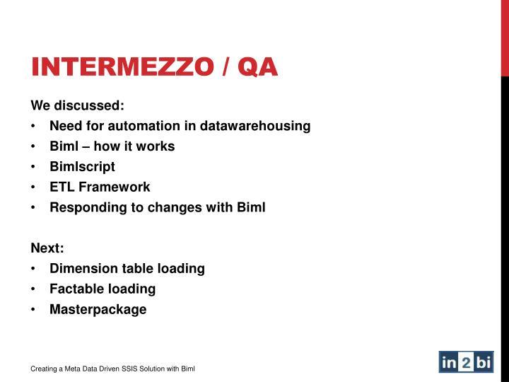 InterMEZZo / QA