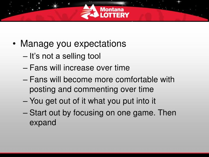 Manage you expectations