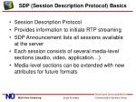 sdp session description protocol basics