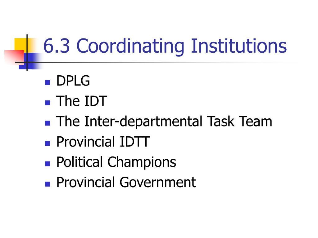 6.3 Coordinating Institutions