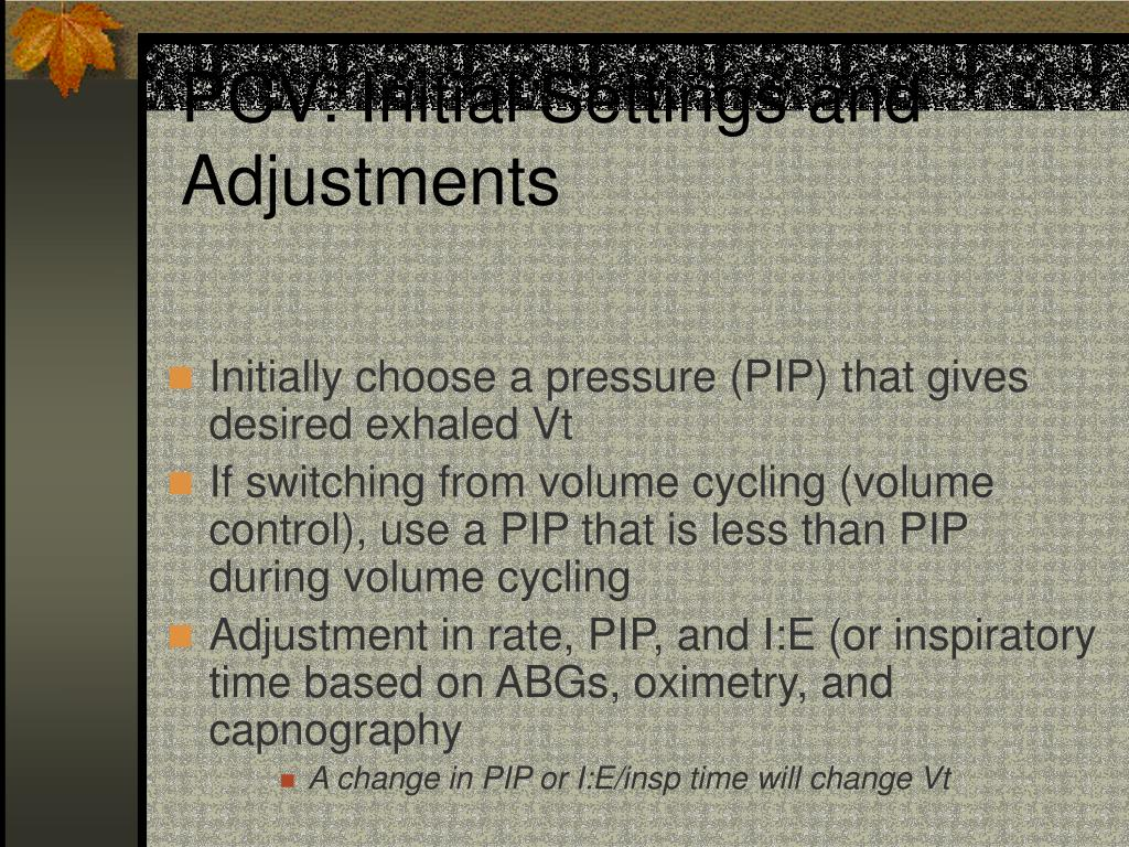 PCV: Initial Settings and Adjustments