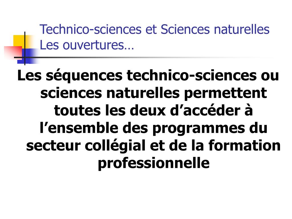 Technico-sciences et Sciences naturelles