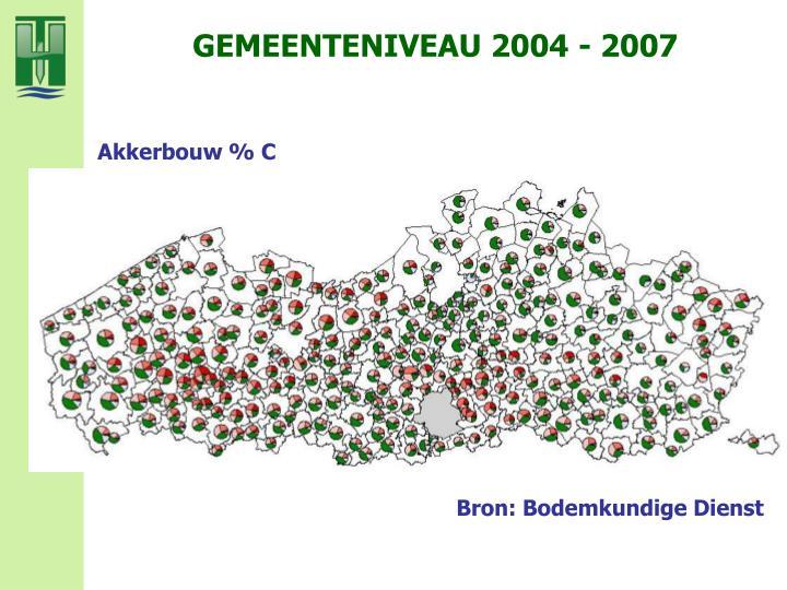 GEMEENTENIVEAU 2004 - 2007