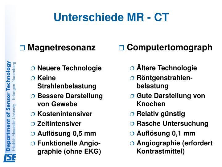 Unterschiede MR - CT
