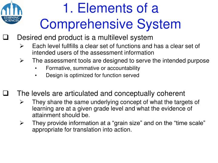 1 elements of a comprehensive system