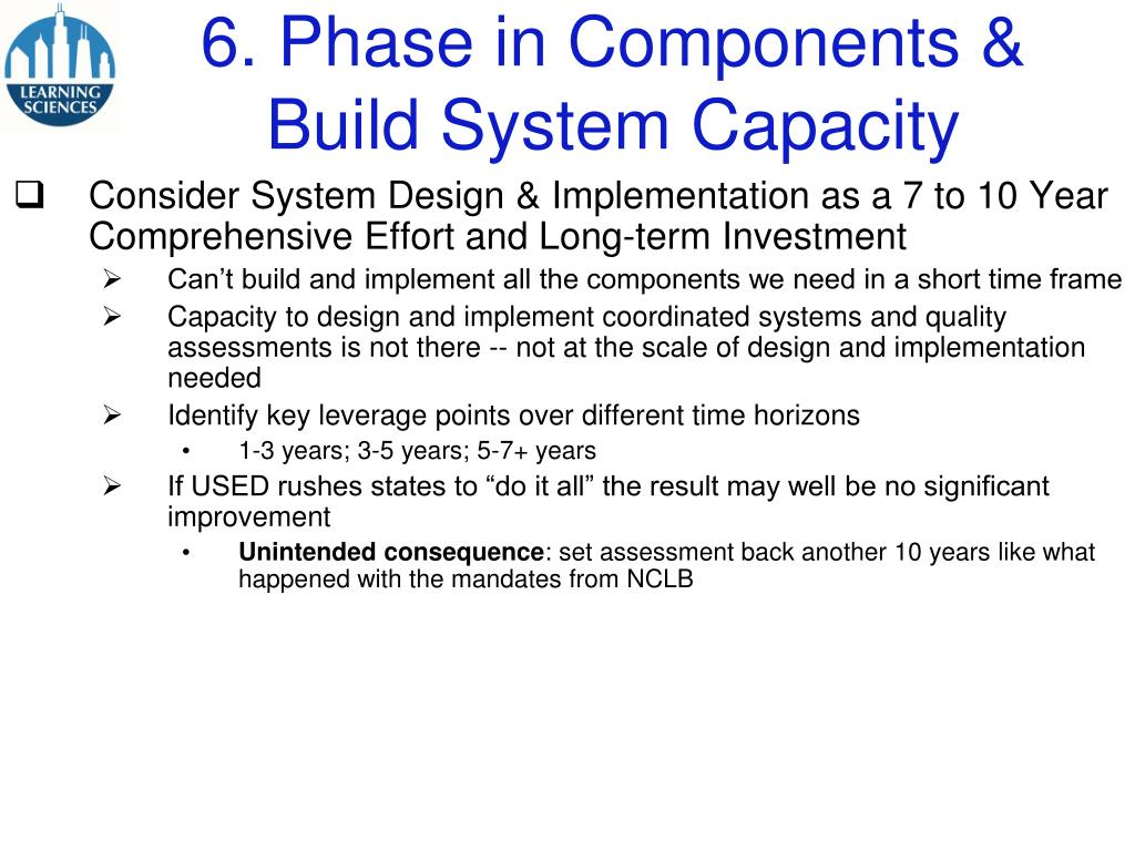6. Phase in Components & Build System Capacity