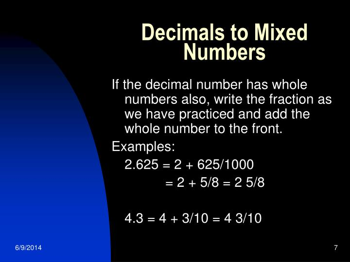 Decimals to Mixed Numbers