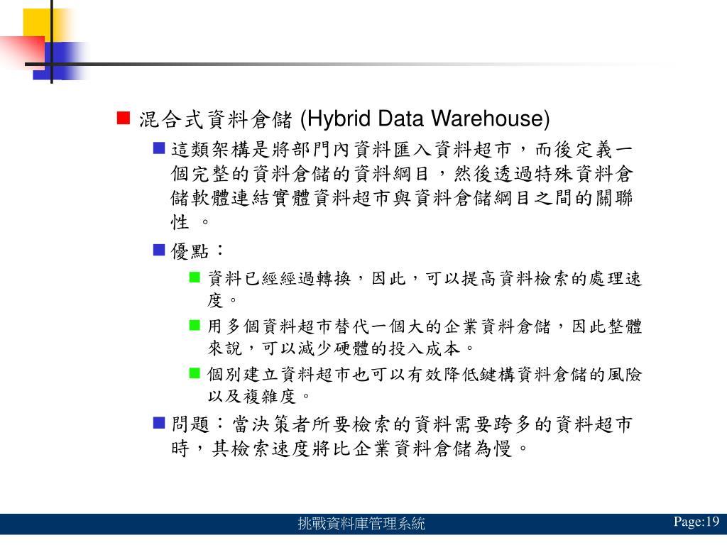混合式資料倉儲