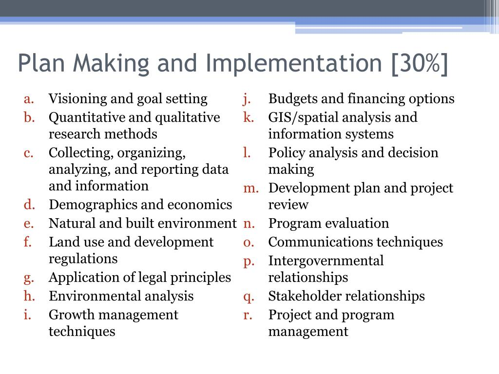 Plan Making and Implementation [30%]