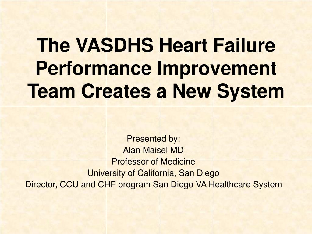 the vasdhs heart failure performance improvement team creates a new system l.