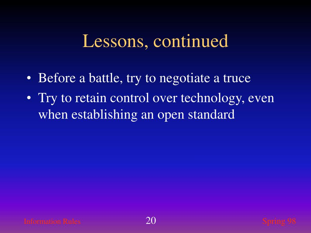 Lessons, continued