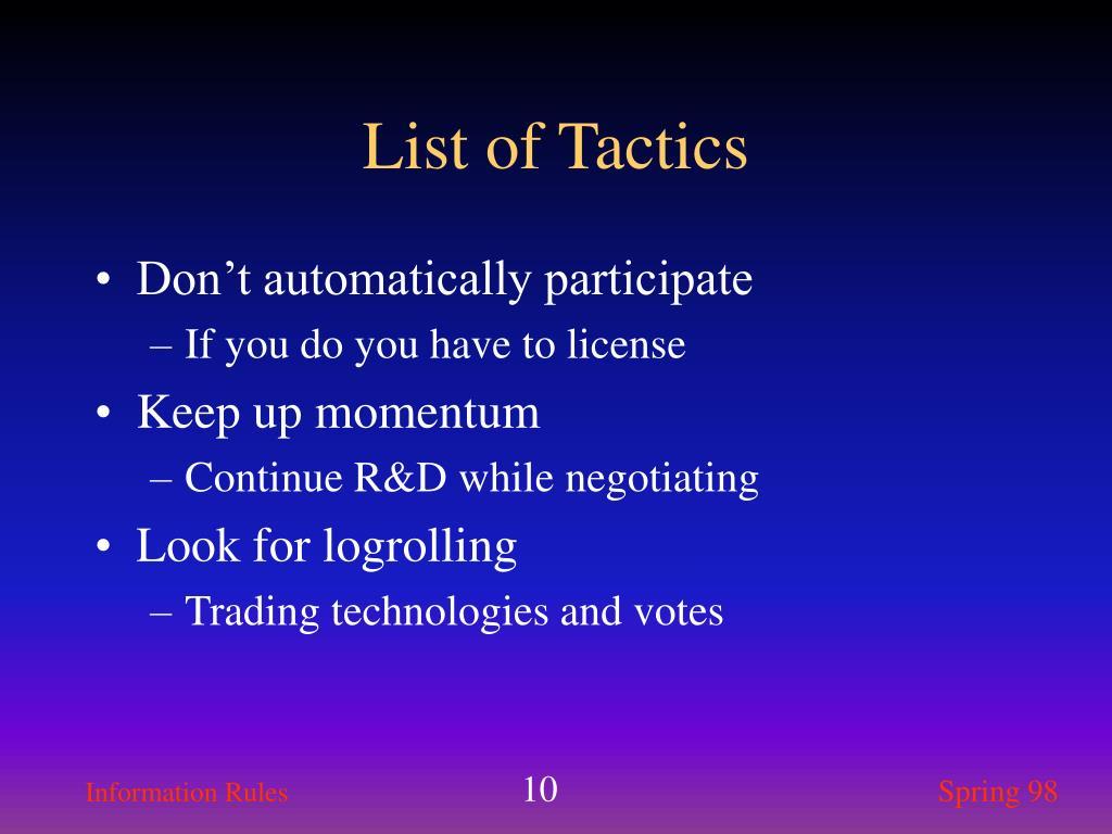 List of Tactics