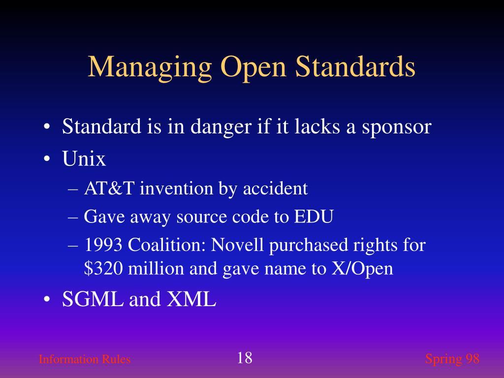 Standard is in danger if it lacks a sponsor