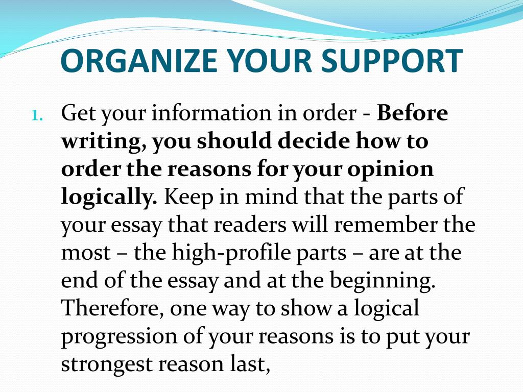 ORGANIZE YOUR SUPPORT