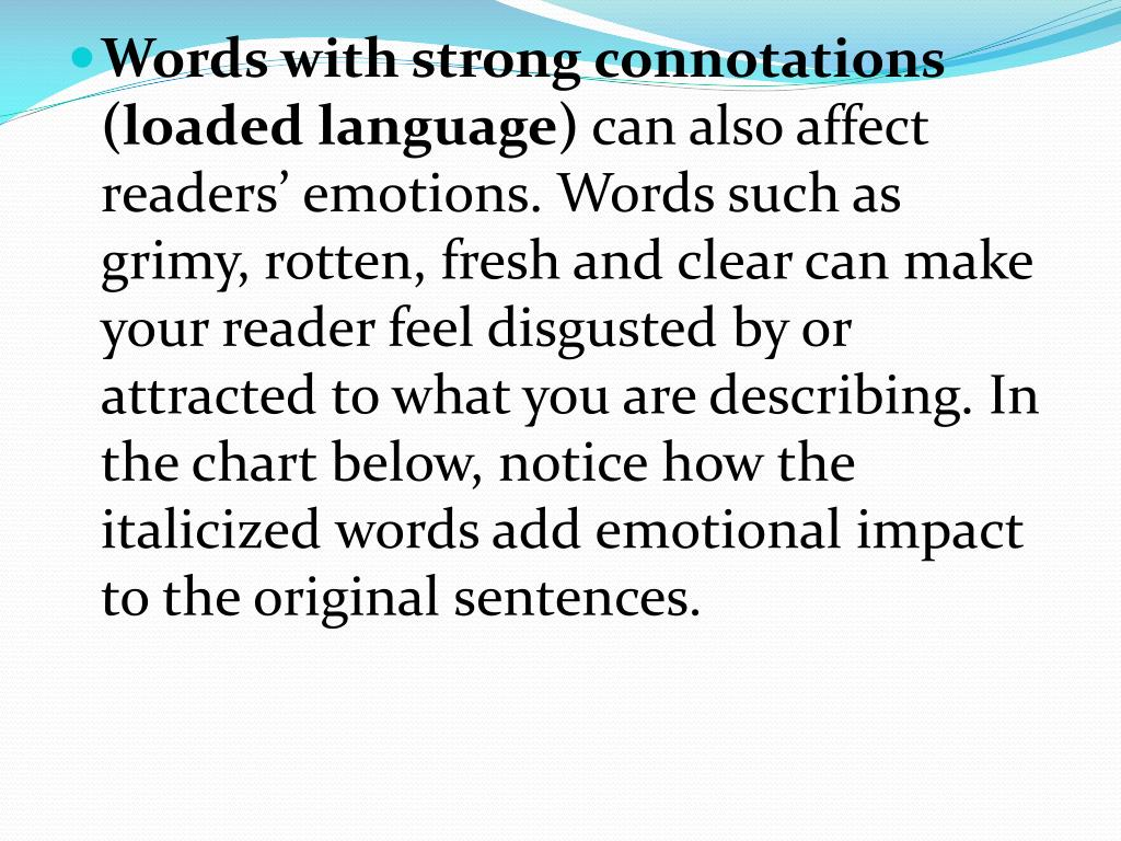 Words with strong connotations (loaded language)
