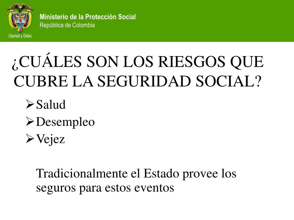 ¿CUÁLES SON LOS RIESGOS QUE CUBRE LA SEGURIDAD SOCIAL?