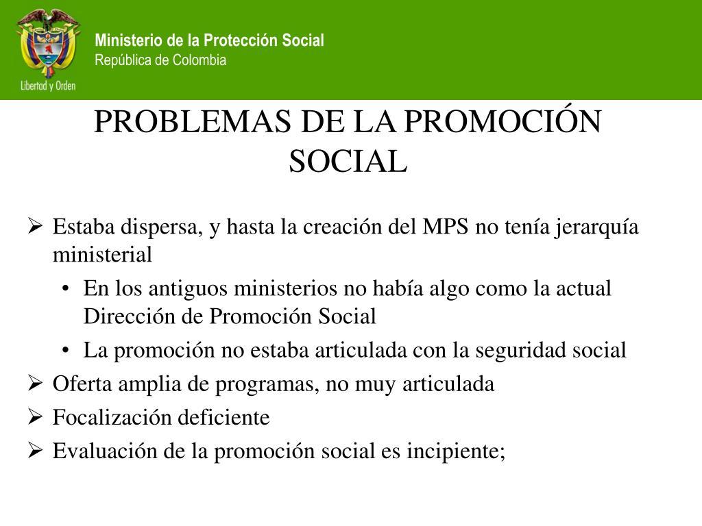 PROBLEMAS DE LA PROMOCIÓN SOCIAL