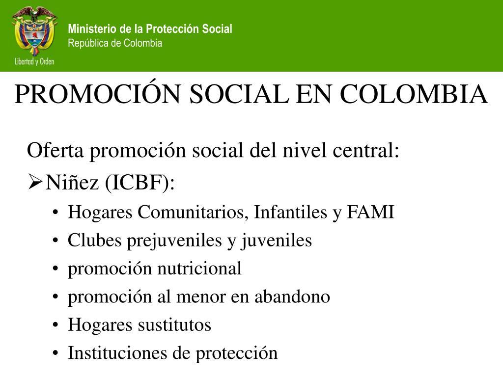 PROMOCIÓN SOCIAL EN COLOMBIA